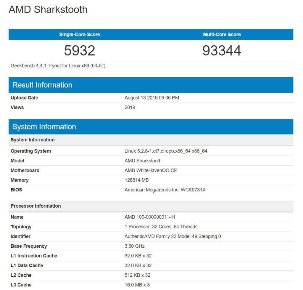ryzen 3000 threadripper 3. jenerasyon threadripper geekbench
